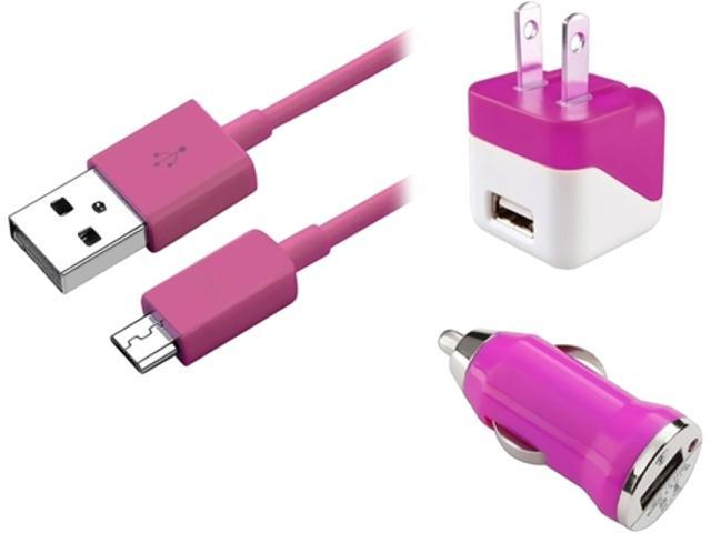 Insten 1830339 Pink USB Travel Charger + USB Car Charger Adapter + 3FT Micro USB Cable for Samsung Galaxy S5 SV