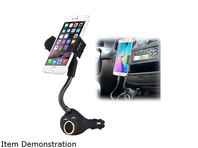 Insten 2114090 Black Dual USB 2-Port Car Charger Cell Phone Mount Holder plug into Car Cigarette Lighter Socket w/ Micro USB Cable For iPhone6 6 Plus Samsung Galaxy S6 HTC LG Smartphone