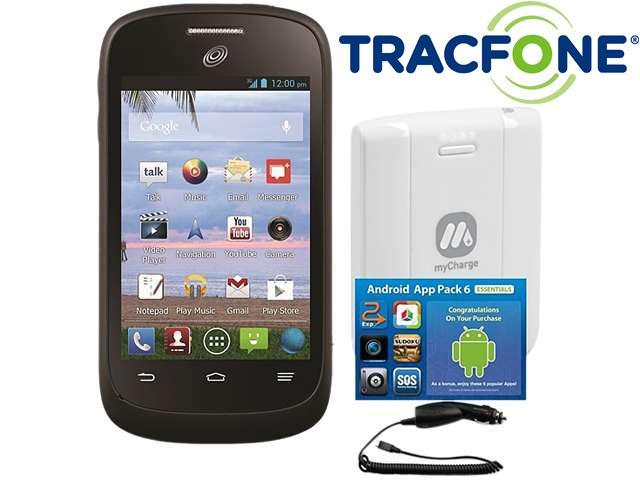ZTE Valet (Tracfone) Black and Silver Frame 1.0GHz Cell Phone Bundle with MyCharge Voyage 1000mAh, Avanquest App Pack, hypercel Car Charger, Tracfone 600 Minute (200 Minute Airtime Card) & Triple Minu
