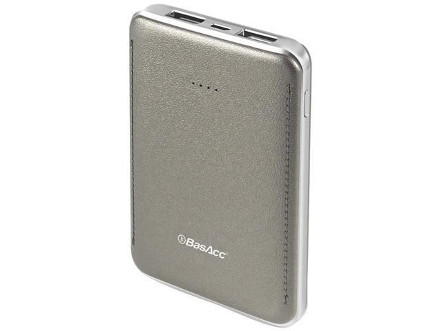 BasAcc Gray 6000 mAh Universal Portable 2-port USB Power Bank with LED Battery Indicator 2213491