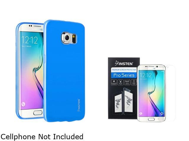 Insten Sky Blue Jelly TPU Gel Case + Clear Screen Protector Guard Shield Film For Samsung Galaxy S6 Edge 2106331