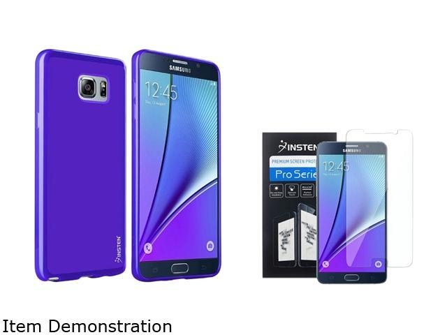 Insten TPU [ Ultra Thin ] Blue Jelly Soft Slim Case + Clear Full HD Transparent Premium Screen Protector For Samsung Galaxy Note 5 2138524