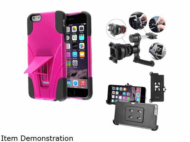 Insten 2-Tone Black Skin / Hot Pink Hard Hybrid Case Stand For Apple iPhone 6 Plus 5.5 2055651