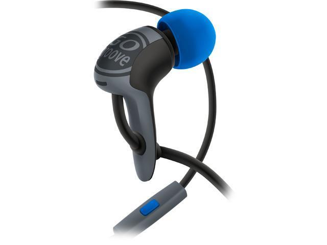 High Performance Noise Isolating AudiOHM HDX Ergonomic Earbud Headphones (Black & Blue) by GOgroove with Handsfree Mic
