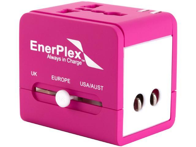 EnerPlex AC-TRVL-PK Pink Multi Use International Travel Adapter 6A Compatible in US UK EU Includes 2 USB ports