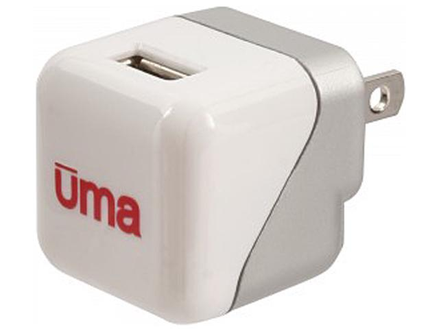 Upwardly Mobile Accessories UMAPWRSQUARE White 1A UL Listed AC Charger with 1 USB Port