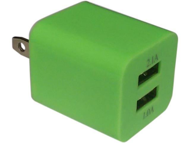 Xfactor TWALLXF2ADUALGR Green Power Cube - 2.1 Amp & 1 Amp Dual USB Ports