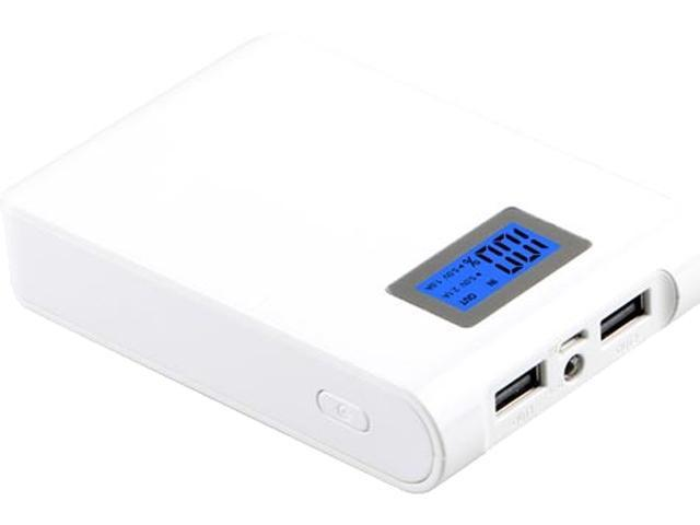 LifeCHARGE MEGA LCD White 10400 mAh Power Pack with Dual USB Ports ONT-PWR-36147