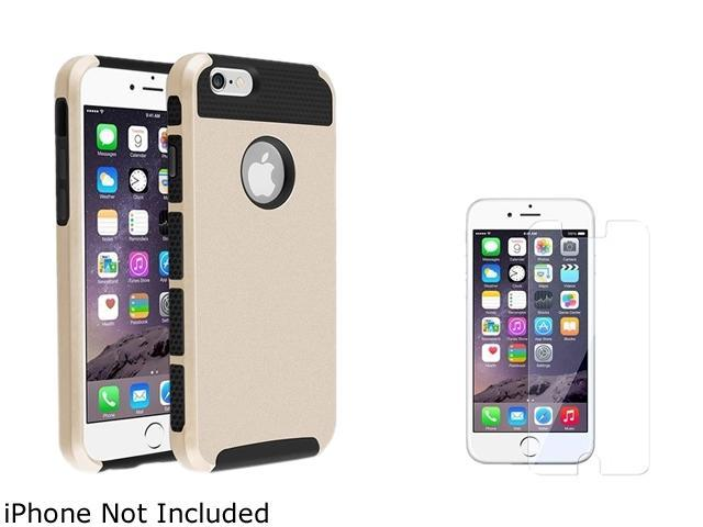 1X Hybrid Case compatible with Apple iPhone 6 4.7, Black TPU/Gold