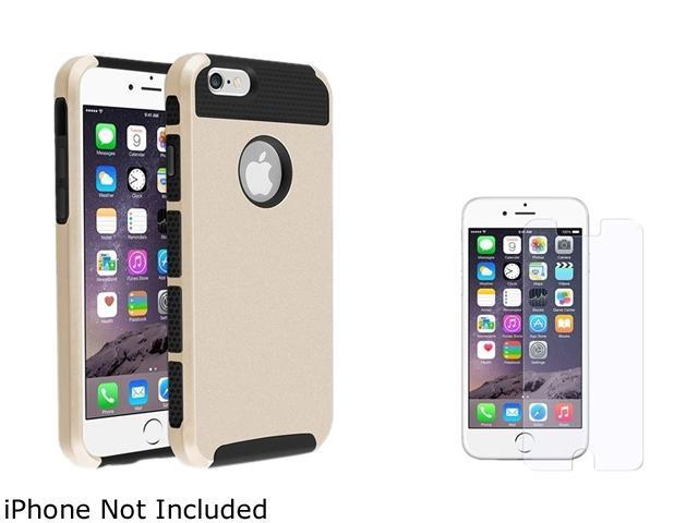 1X Hybrid Case compatible with Apple iPhone 6 4.7, Black TPU/Gold Hard