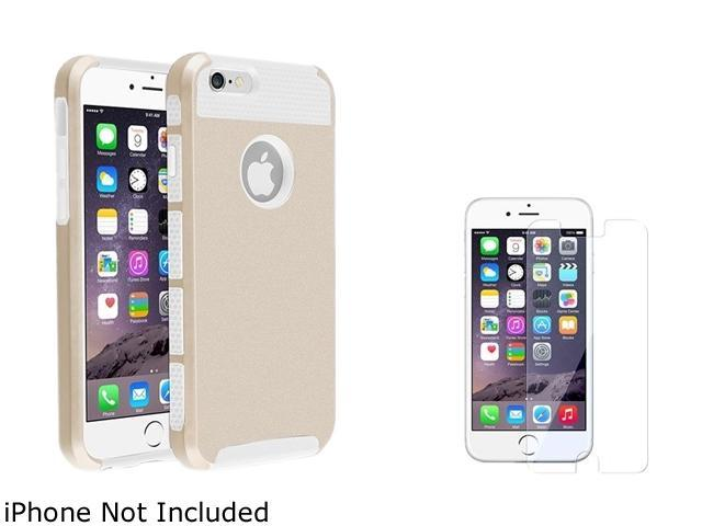 1X Hybrid Case compatible with Apple iPhone 6 4.7, White TPU/Gold Hard