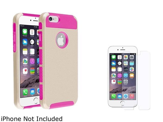 1X Hybrid Case compatible with Apple iPhone 6 4.7, Hot Pink TPU/Gold