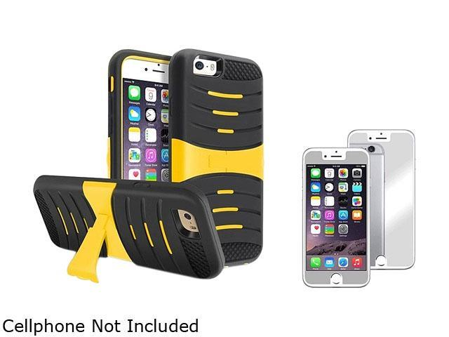 1X Hybrid Armor Case with Stand compatible with Apple iPhone 6 4.7, Black Skin/Yellow Hard Note: NOT compatible with Apple iPhone 6 Plus Keep your phone safe and protected in style with this dual-laye