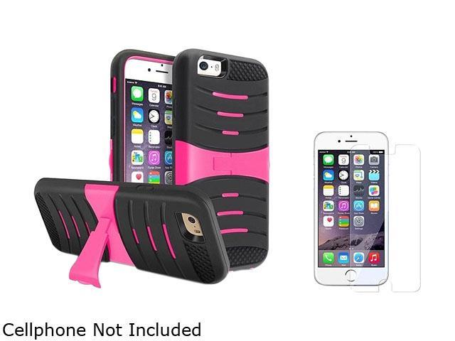 1X Hybrid Armor Case with Stand compatible with Apple iPhone 6 4.7,Black Skin/Hot Pink Hard Note: NOT compatible with Apple iPhone 6 Plus Keep your phone safe and protected in style with this dual-lay