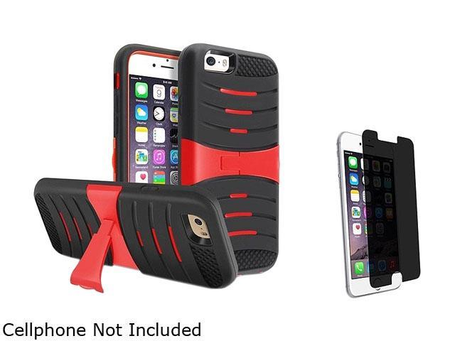 1X Hybrid Armor Case with Stand compatible with Apple iPhone 6 4.7 , Black Skin/Red Hard Note: NOT compatible with Apple iPhone 6 Plus Keep your phone safe and protected in style with this dual-layere