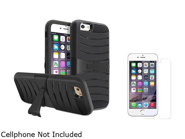 1X Hybrid Armor Case with Stand compatible with Apple iPhone 6 4.7,Black Skin/Black Hard Note: NOT compatible with Apple iPhone 6 Plus Keep your phone safe and protected in style with this dual-layere