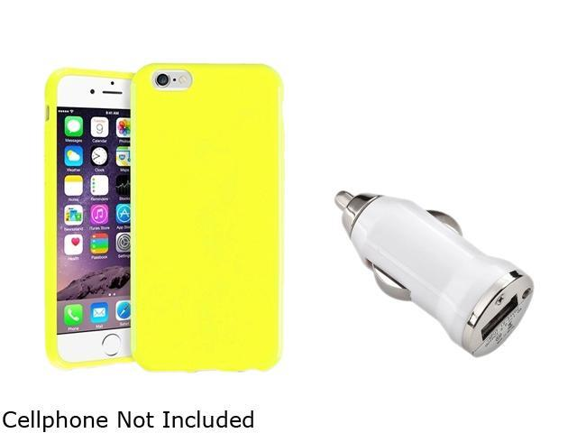 Insten Yellow Jelly TPU Case Cover + White Car Charger Adapter for Apple iPhone 6 (4.7-inch) 1935459