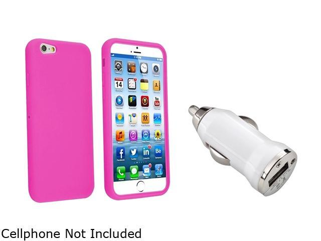 Insten Hot Pink Silicone Case Cover + White Car Charger Adapter for Apple iPhone 6 (4.7-inch) 1935601