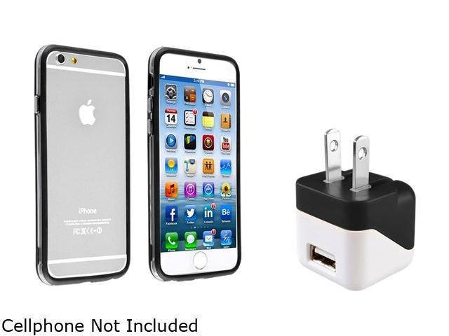Insten Clear/ Black TPU Rubber Bumper Case Cover + Travel Charger Adapter for Apple iPhone 6 (4.7-inch) 1935759