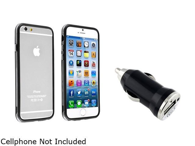 Insten Clear/ Black TPU Rubber Bumper Case Cover + Car Charger Adapter for Apple iPhone 6 (4.7-inch) 1935760