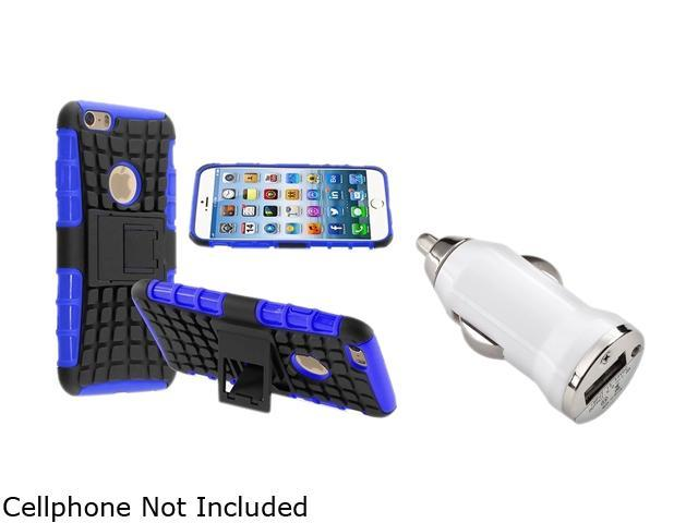 Insten Blue TPU/ Black Hard Hybrid Bumper Case Cover + White Car Charger Adapter for Apple iPhone 6 (4.7-inch)1935784