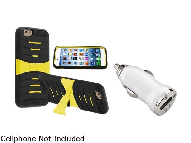 Insten Black Skin/ Yellow Hard Hybrid  w/ Stand Armor Case Cover + White Car Charger Adapter for Apple iPhone 6 (4.7-inch)1935829