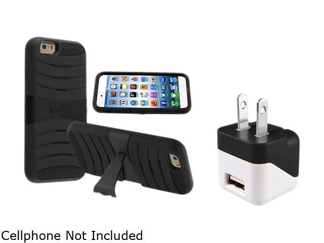 Insten Black Skin/ Black Hard Hybrid w/ Stand Armor Case Cover + Travel Charger Adapter for Apple iPhone 6 (4.7-inch)1935868