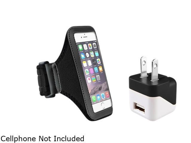 Insten Black Sportband Case Cover + Travel Charger Adapter for Apple iPhone 6 (4.7-inch) 1935969