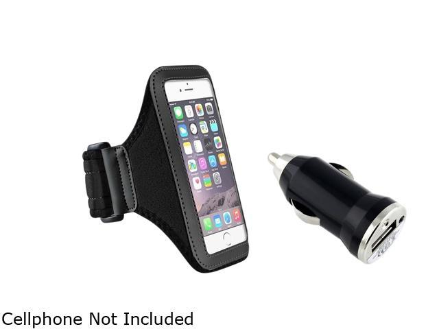 Insten Black Sportband Case Cover + Car Charger Adapter for Apple iPhone 6 (4.7-inch) 1935970