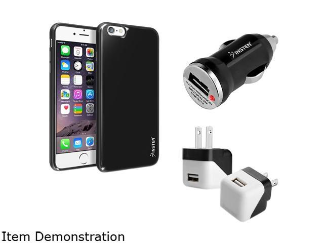 Insten Black Jelly TPU Case Cover + Travel/ Wall Charger Adapter + Car Charger Adapter for Apple iPhone 6 Plus 1936121