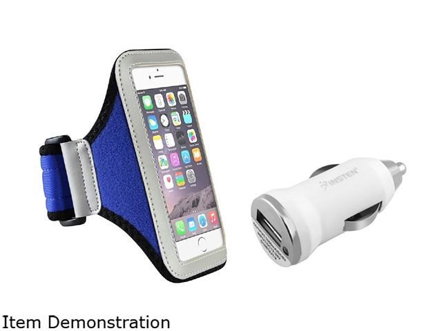 Insten Silver/ Blue Sportband Case Cover + White Car Charger Adapter for Apple iPhone 6 (4.7-inch) 1966998