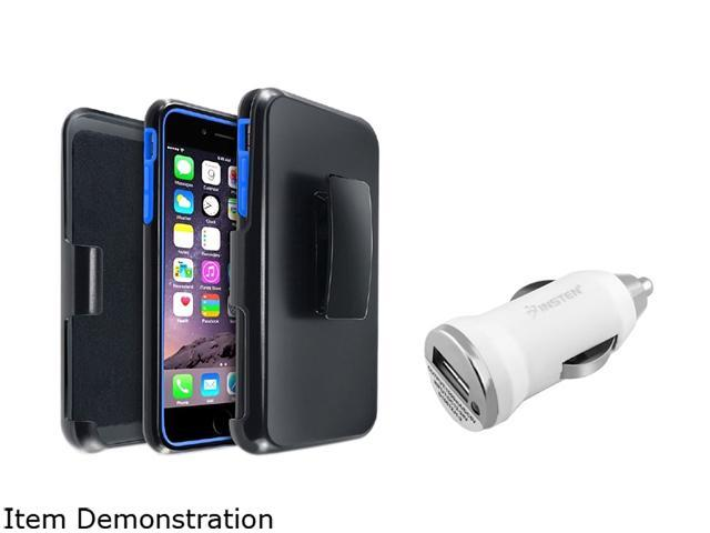 Insten Blue/ Black w/ Stand Hybrid Case Cover + White Car Charger Adapter for Apple iPhone 6 Plus 1967152