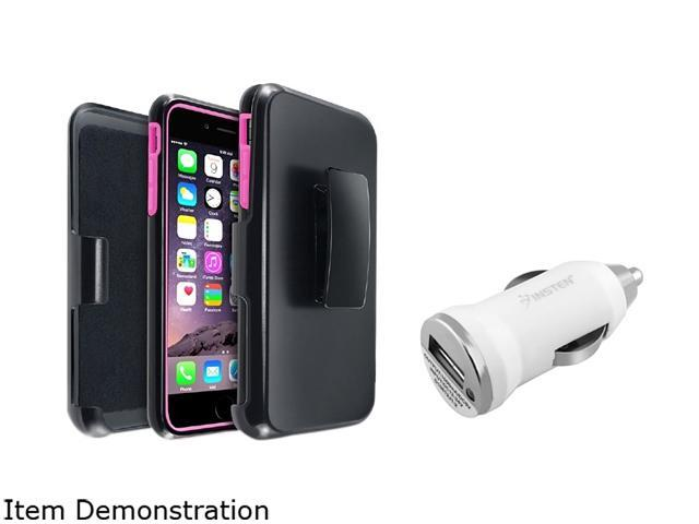 Insten Hot Pink/ Black w/ Stand Hybrid Case Cover + White Car Charger Adapter for Apple iPhone 6 Plus 1967168