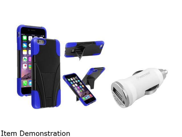 Insten Black / Blue T-Stand Case Cover + White Car Charger Adapter for Apple iPhone 6 Plus 1967192