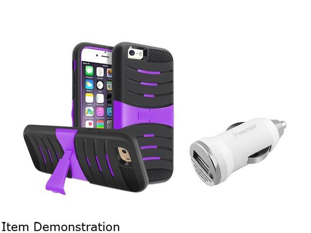 Insten Black/Purple w/ Stand Hybrid Case Cover + White Car Charger Adapter for Apple iPhone 6 (4.7-inch) 1967780
