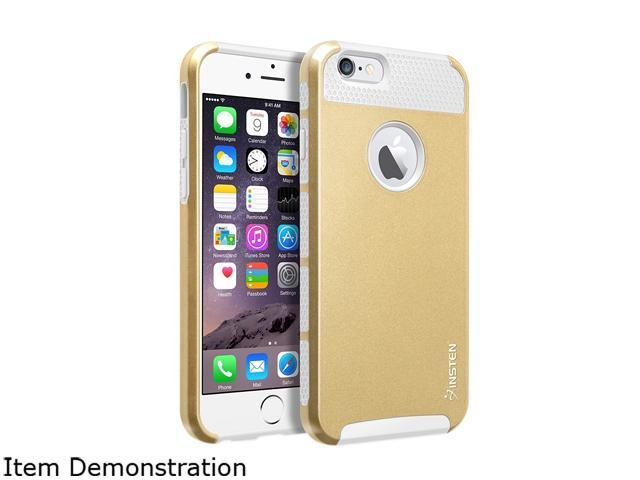 Insten White TPU / Gold Hard Hybrid Case Cover + White Car Charger Adapter for Apple iPhone 6 (4.7-inch) 1967812