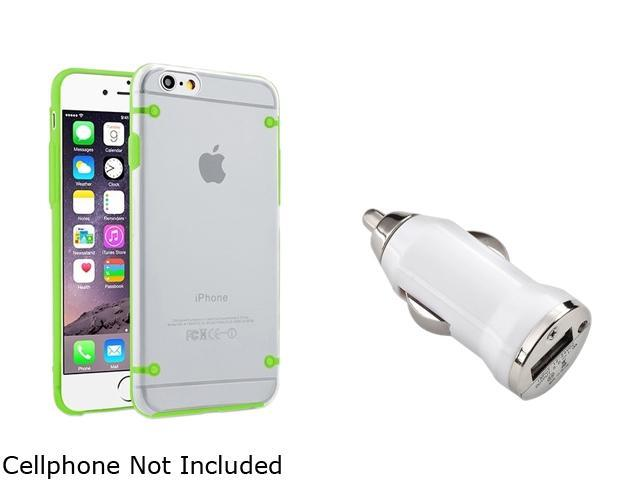 Insten Clear/Green TPU Bumper Clip-on Hybrid Case Cover + White Car Charger Adapter for Apple iPhone 6 (4.7-inch) 1967896