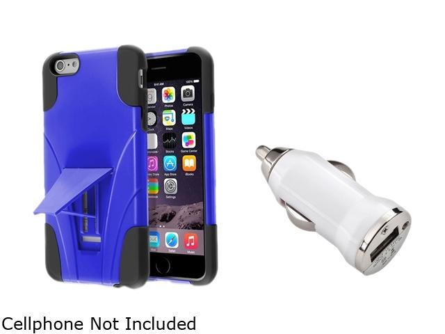 Insten Black / Blue With Stand Hybrid Case Cover + White Car Charger Adapter for Apple iPhone 6 Plus 5.5