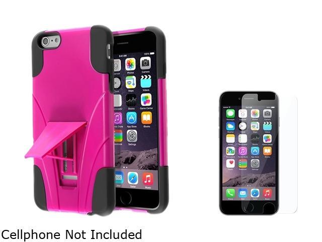 Insten Black  / Hot Pink With Stand Hybrid Case Cover + Clear Screen Protector for Apple iPhone 6 Plus 5.5