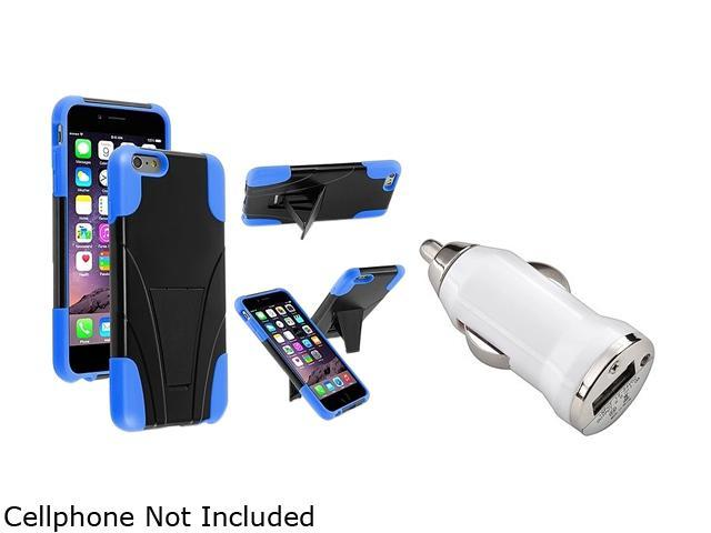 Insten Blue and Black T-Stand Case Cover + White Car Charger Adapter for Apple iPhone 6 Plus (5.5-inch) 1967232