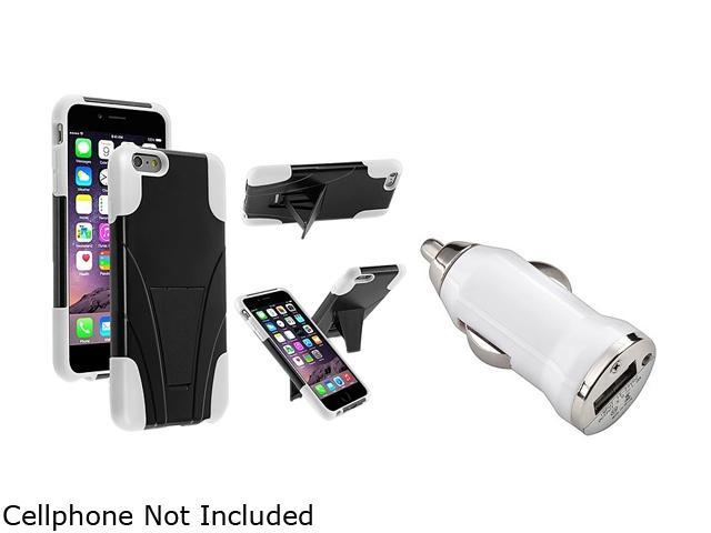Insten Black / White T-Stand Case Cover + White Car Charger Adapter for Apple iPhone 6 Plus (5.5-inch) 1967240