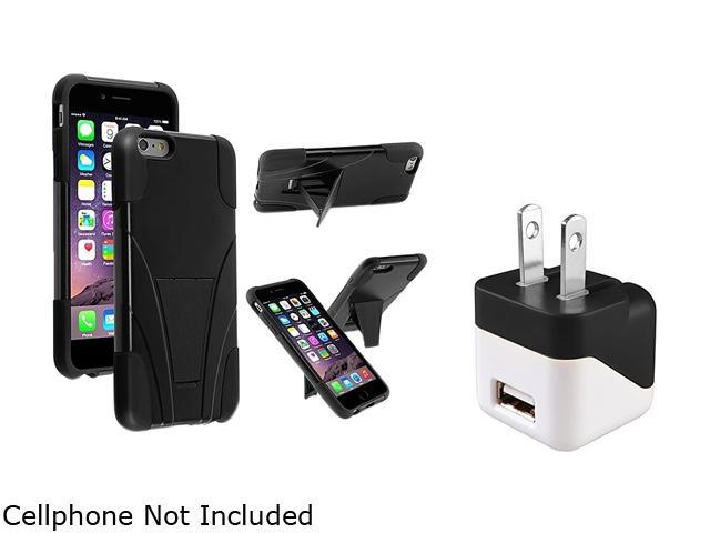 Insten Black T-Stand Case Cover + Travel Charger Adapter for Apple iPhone 6 Plus (5.5-inch) 1967259