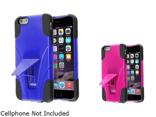 Insten Black Silicone / Blue Hard Plastic , Black Silicone / Hot Pink Hard Plastic 2 packs of With Stand Hybrid Case Covers for Apple iPhone 6 Plus 5.5