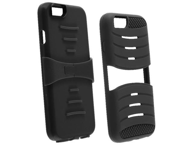 Insten Black Skin / Black Hard Armor Hybrid Case 3-in-1 w / Stand for Apple iPhone 6 (4.7-inch) 1927135