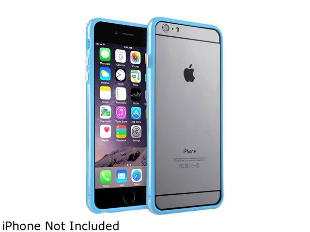 Insten Clear / Sky Blue TPU Bumper with Aluminum Button For Apple iPhone 6 Plus (5.5