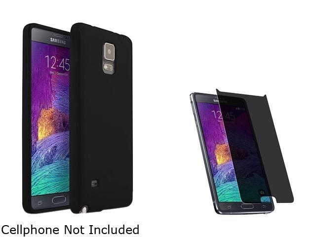 Insten Black Jelly TPU Case Cover + Privacy Screen Protector for Samsung Galaxy Note 4 1963414