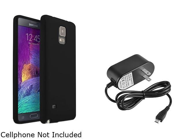 Insten Black Jelly TPU Case Cover + Travel/Wall Charger for Samsung Galaxy Note 4 1963421