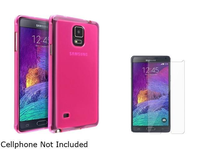 Insten Hot Pink Jelly TPU Case Cover + Screen Protector for Samsung Galaxy Note 4 1963444