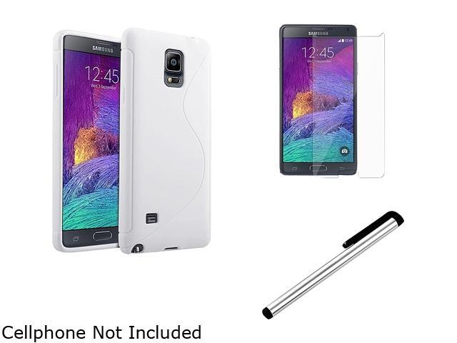 Insten White S Shape TPU Case Cover + Screen Protector + Stylus Pen for Samsung Galaxy Note 4 1963489