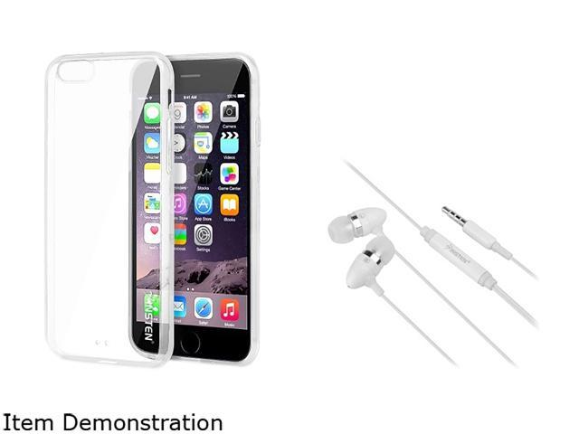 Insten Clear Bumper Clip-on Case Cover + White In-ear (w/ on-off) Stereo Headsets for Apple iPhone 6 Plus 1967656